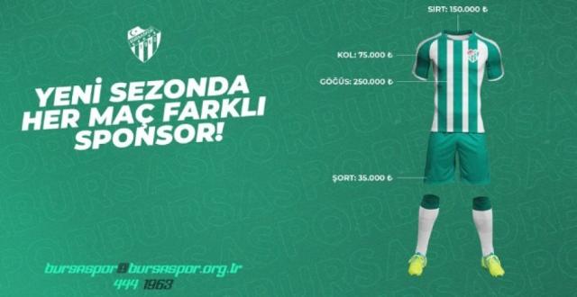 Bursaspor Kulübü, Her Maç İçin Farklı Forma Reklamları Alacak